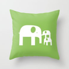 Green Elephants Throw Pillow