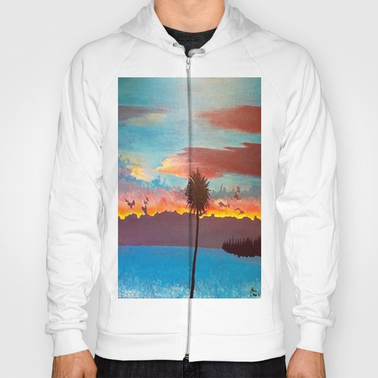 The Beautiful Key West Sun is captured in this ocean sunset painting Hoody