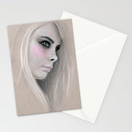 Cara Fashion Illustration Portrait Stationery Cards
