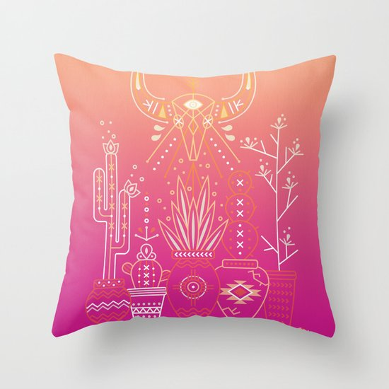 Santa Fe Garden – Pink Sunset Throw Pillow