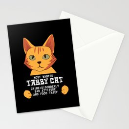 Most Wanted Tabby Cat Bad Attitude And Food Thief Stationery Cards