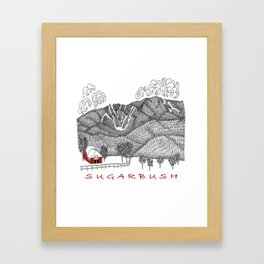 Sugarbush Vermont Serious Fun for Skiers- Zentangle Illustration Framed Art Print
