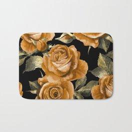 Retro Orange Roses On Black Bath Mat