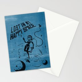 Lost In My Happy Space, blue Stationery Cards