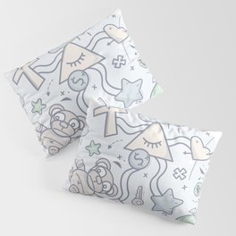 Cartoon Doodle All seeing eye. Background. Pillow Sham