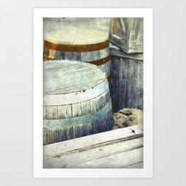 Wooden Barrels and Crates Art Print