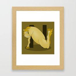 Pony Monogram Letter N Framed Art Print