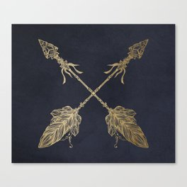 Arrows Gold Copper Bronze on Navy Blue Canvas Print