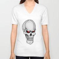 metallic V-neck T-shirts featuring Metallic Skull by J&C Creations