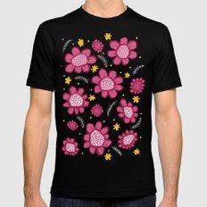 Pop Flowers pink Black MEDIUM Mens Fitted Tee