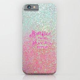 Sparkle Twirl Shine Repeat - White / Pink Sparkle iPhone Case