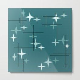 Mid Century Modern Stars (Ocean Green) Metal Print