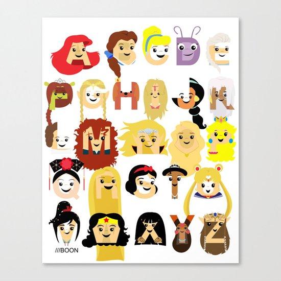 Princess Alphabet Canvas Print