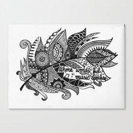 Zentangle Feather Canvas Print