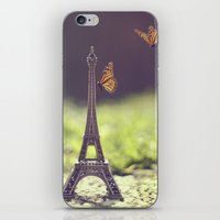 eiffel tower iPhone & iPod Skins featuring Eiffel Tower by Gabriela Da Costa