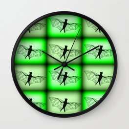 bats- in green Wall Clock
