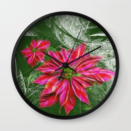 Abstract vibrant red poinsettia on green texture Wall Clock