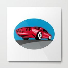 American Muscle Car Oval Retro Metal Print