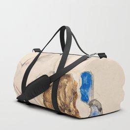 Egon Schiele - Nude with Blue Stockings, Bending Forward Duffle Bag
