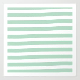 Brushy Stripes - Mint Art Print