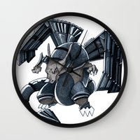 charizard Wall Clocks featuring Meta Charizard by VictorVieitez