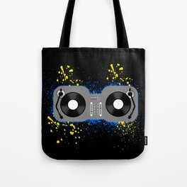 Blue and Yellow Turntables Tote Bag