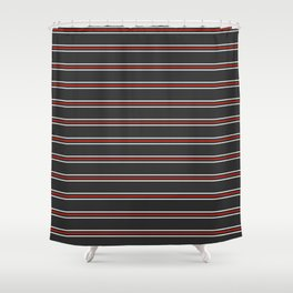 Phillip Gallant Media Design - White and Red Lines on Black Shower Curtain