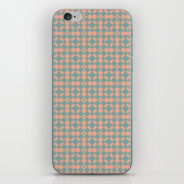 Tuscan Tile Pattern Modern Geometric Turquoise and Peach iPhone Skin