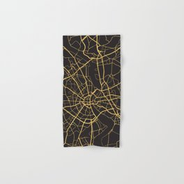 COLOGNE GERMANY GOLD ON BLACK CITY MAP Hand & Bath Towel