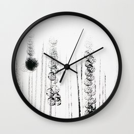 Black & white flower field illustration Wall Clock