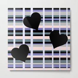 Three Black Hearts - Purple Green Metal Print