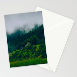 Moist Rainy Forest Pine Trees  Green Hills Stationery Cards