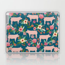 Pig florals farm homesteader pigs cute farms animals floral gifts Laptop & iPad Skin