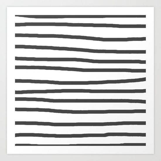 Simply Drawn Stripes in Simply Gray Art Print