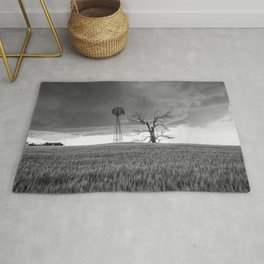 Blowing in the Wind - Black and White Windmill and Dead Tree with Storm in Oklahoma Rug