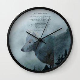 Wilderness Wolf & Poem Wall Clock