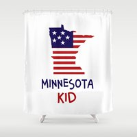 minnesota Shower Curtains featuring Minnesota Kid by raineon