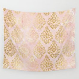 floral gold leaf diamond arabesque on pink Wall Tapestry