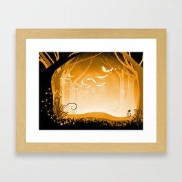 Dark Forest at Dawn in Amber Framed Art Print