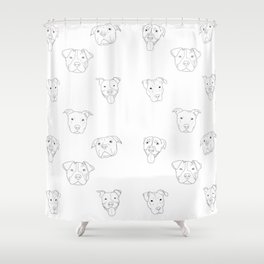 White pit bull love Shower Curtain