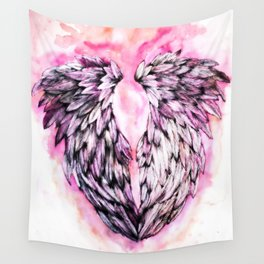 Pink Angel Wings  Wall Tapestry