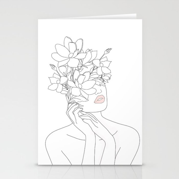 Minimal Line Art Woman with Magnolia Stationery Cards
