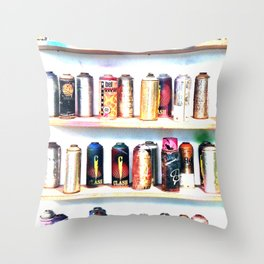 Spray Cans - United Kingdom Throw Pillow
