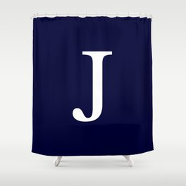 Navy Blue Basic Monogram J Shower Curtain