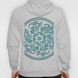 Round Green Floral Tile Art Hoody