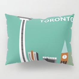 Toronto, Ontario, Canada - Skyline Illustration by Loose Petals Pillow Sham