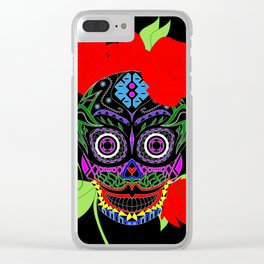 Rosa Adela calavera skull ecopop Clear iPhone Case