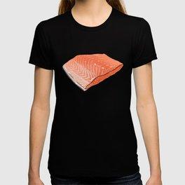 Salmon Fish Fillet Fiesta, Seafood on Teal T-shirt