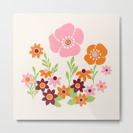 Pretty Retro Floral Metal Print