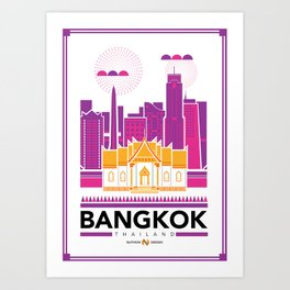 City Illustrations (Bangkok, Thailand) Art Print